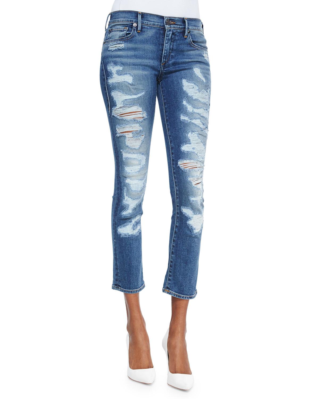 true religion cora cropped distressed denim jeans in blue denim lyst. Black Bedroom Furniture Sets. Home Design Ideas