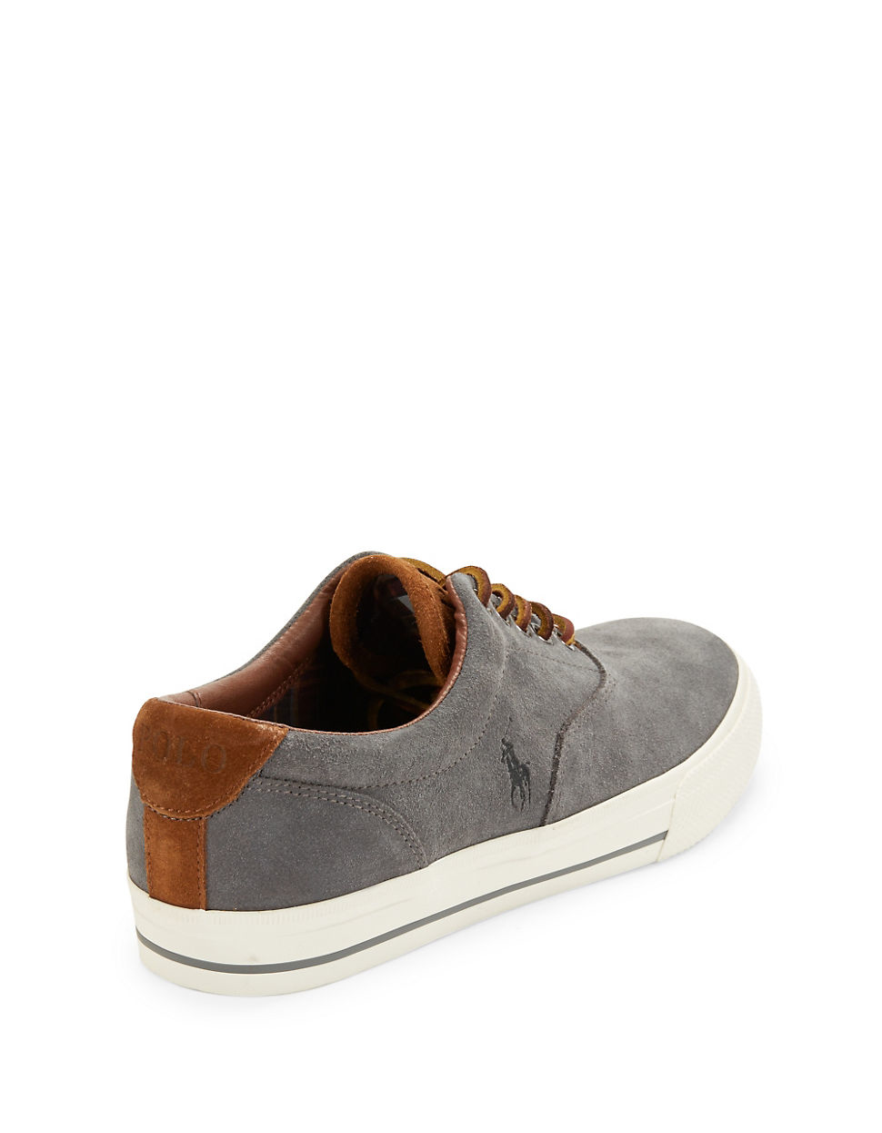 polo ralph vaughn suede lace up sneakers in gray