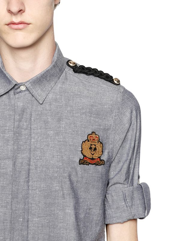 Lyst Lords Amp Fools Military Cotton Amp Linen Oxford Shirt