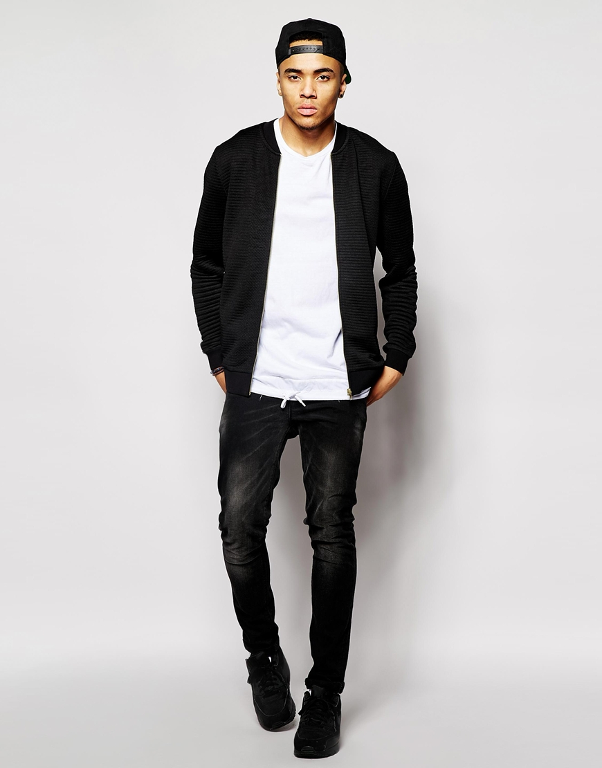 Lyst Asos Quilted Bomber Jacket In Jersey With Gold Zips