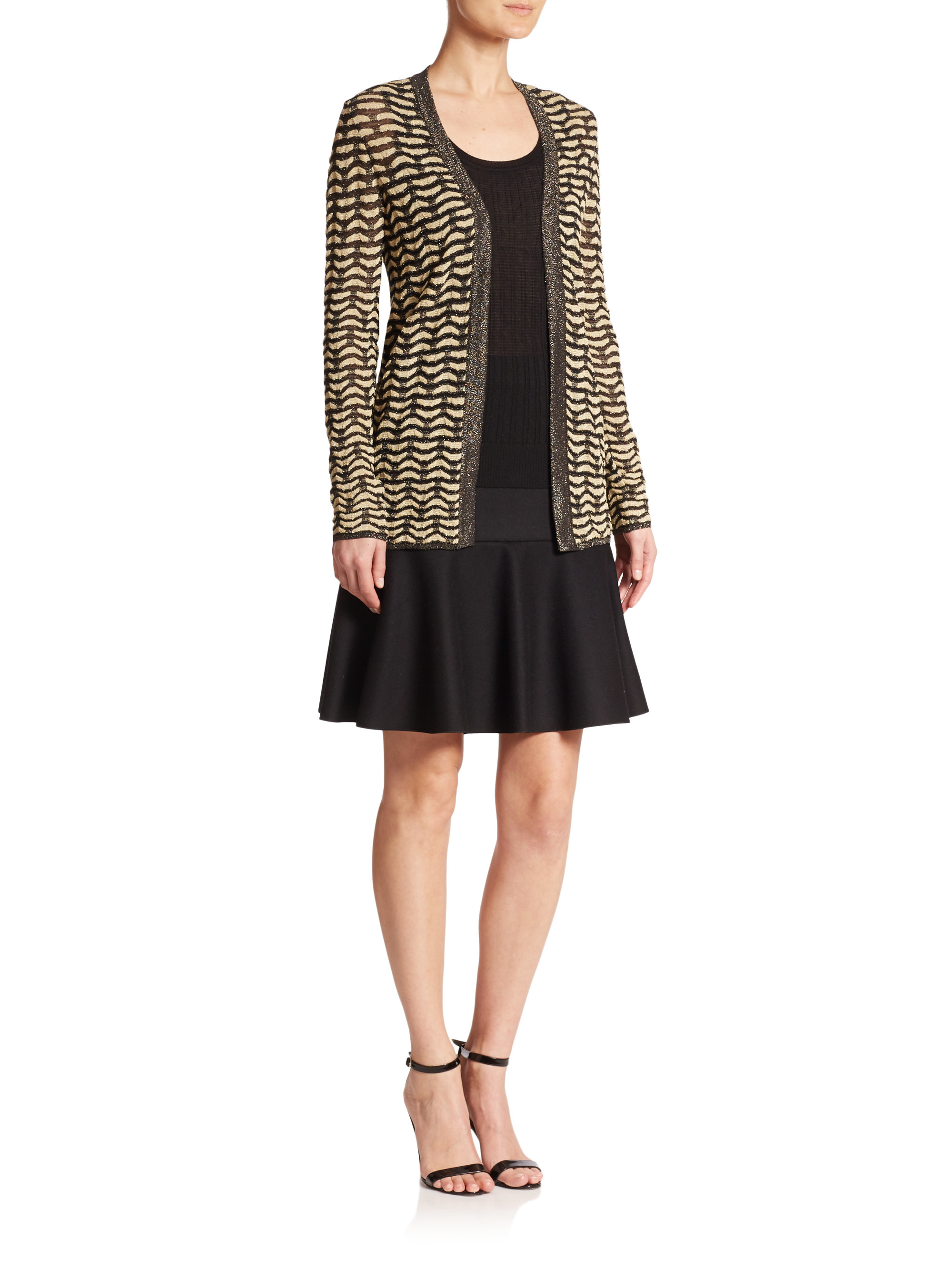 M missoni Two-tone Open Cardigan in Brown | Lyst