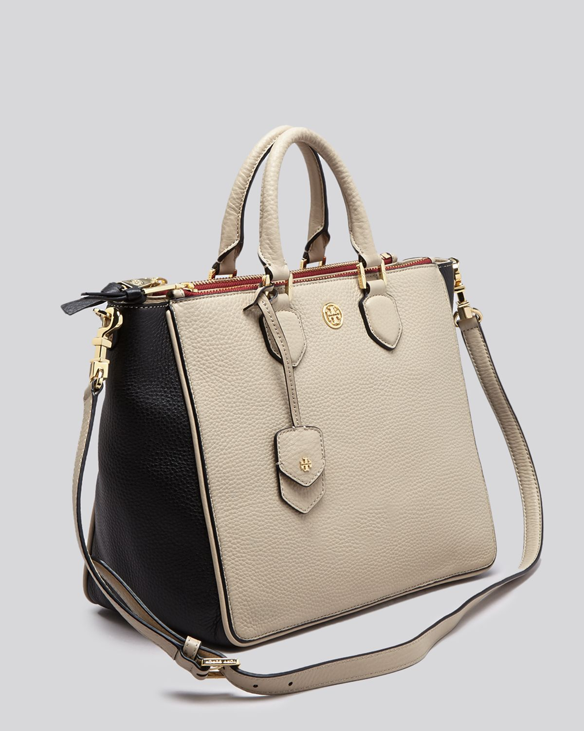 5f0df253783 Lyst - Tory Burch Tote - Robinson Pebbled Colorblock Square in Natural