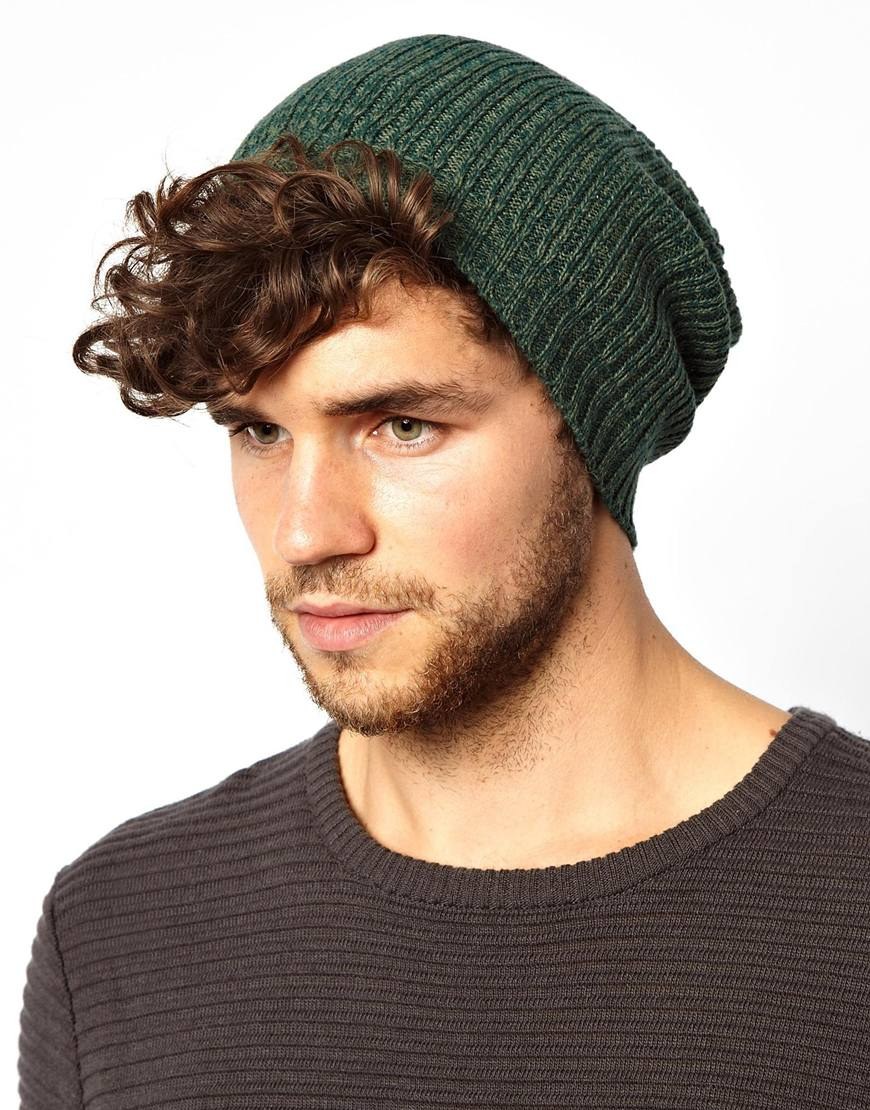 Lyst - ASOS Slouchy Beanie Hat in Green for Men 8dc95087ca6
