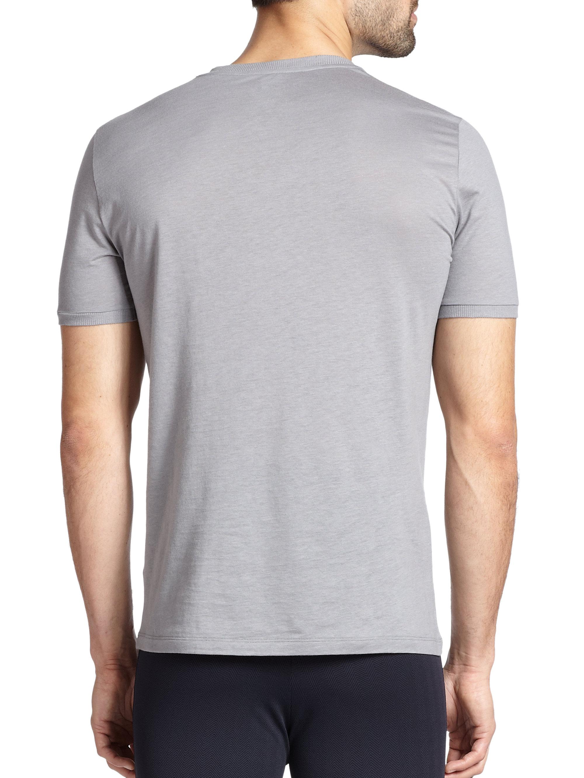La perla silk cotton v neck tee in gray for men lyst for Cotton silk tee shirts