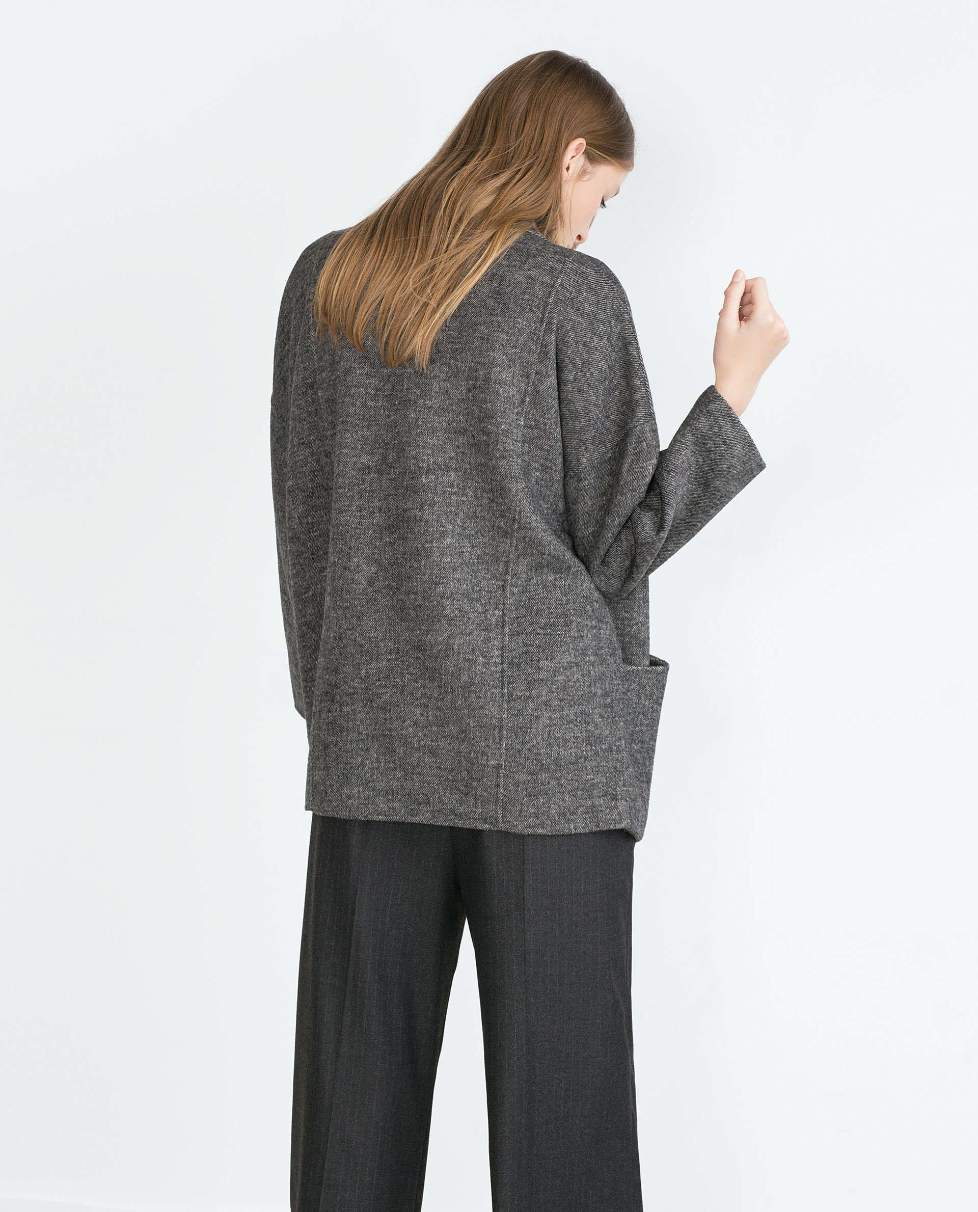 Zara Hand Made Three Quarter Length Coat In Gray Lyst