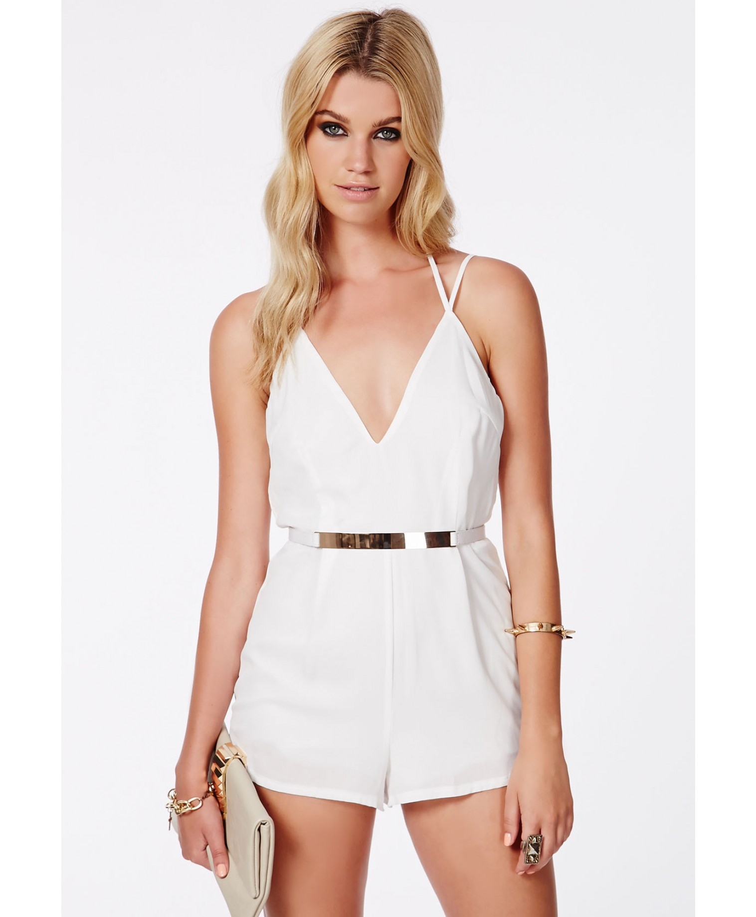 29fb4a98c742 Lyst - Missguided Lintley Chiffon Strappy Romper White in White