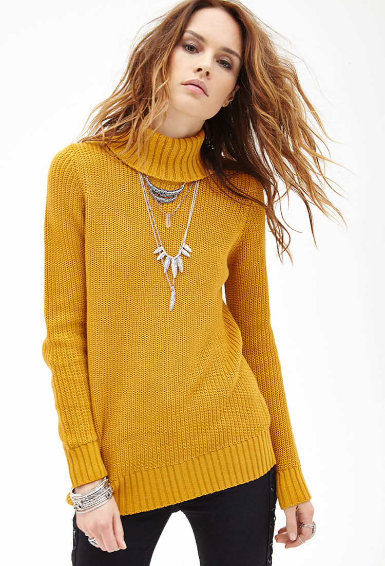Forever 21 Ribbed Turtleneck Sweater in Yellow | Lyst