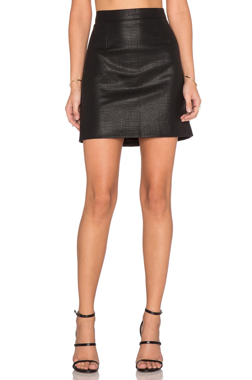 bardot snake embossed skirt in black lyst