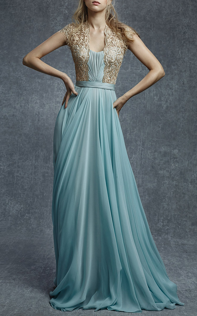 Reem acra Embroidered Illusion Silk Chiffon Gown in Blue   Lyst