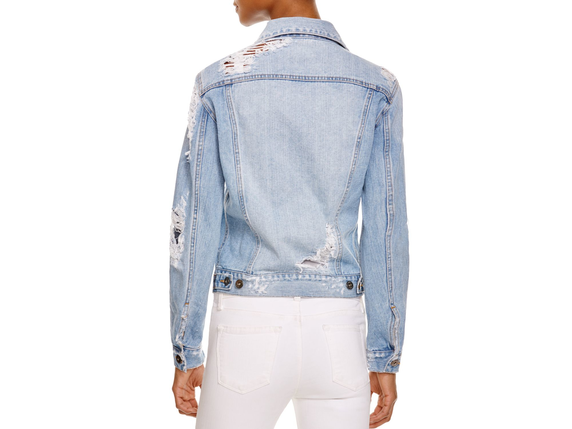 Bardot Distressed Denim Jacket. Point collar, long sleeves, button front closure. Button chest pockets, side slit pockets, button cuffs. Approx. 22