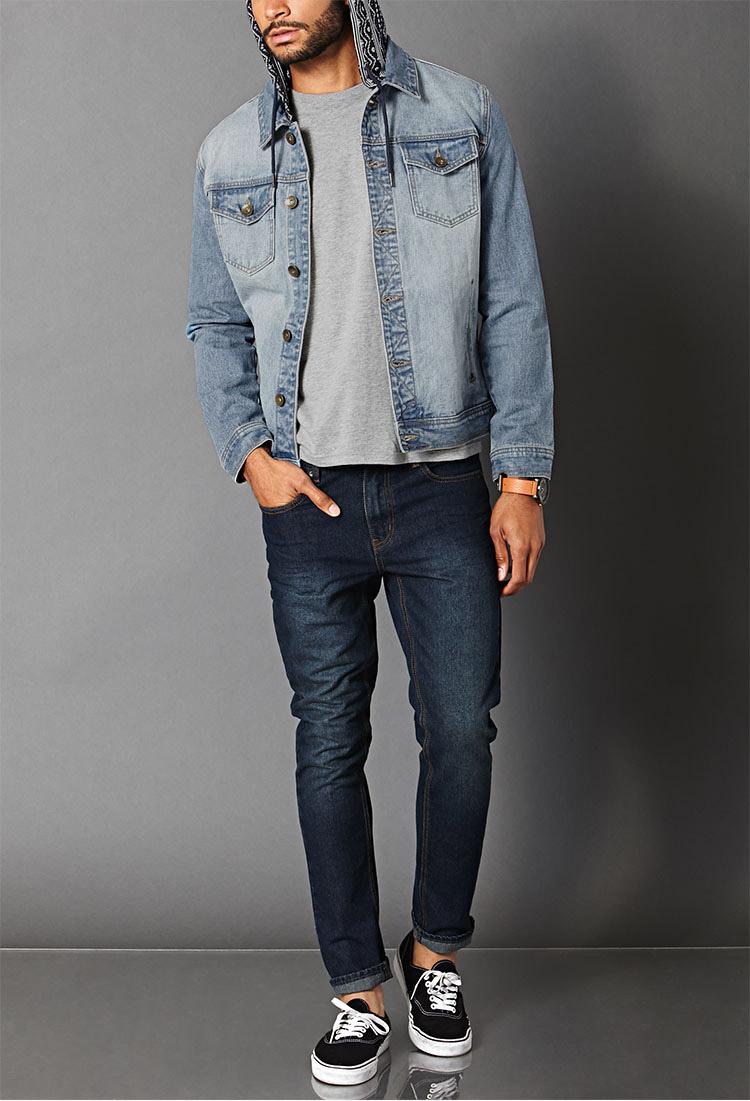 Print Hooded Denim Jacket