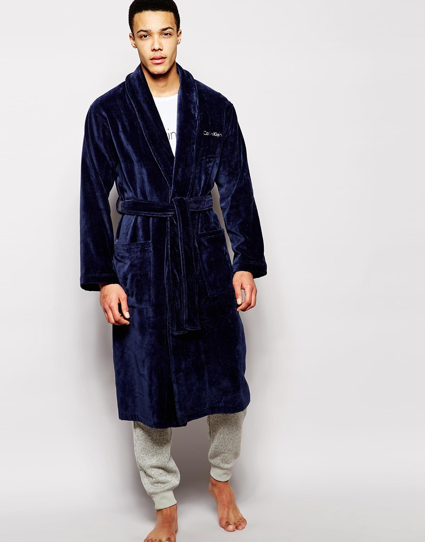Calvin klein Terry Dressing Gown Robe in Blue for Men