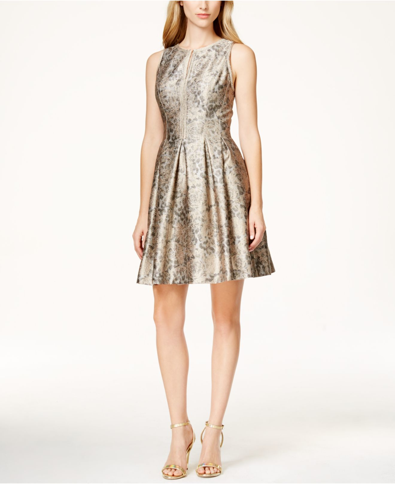 eaa6195990c3 Vince Camuto Metallic Jacquard Flare Dress in Metallic - Lyst