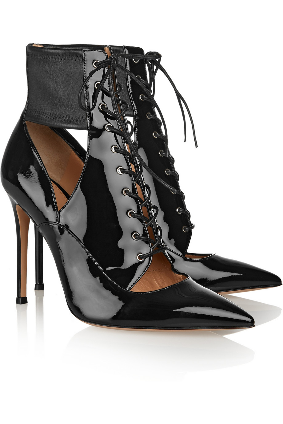 Gianvito Rossi Lace Up Patent Leather Ankle Boots In Black