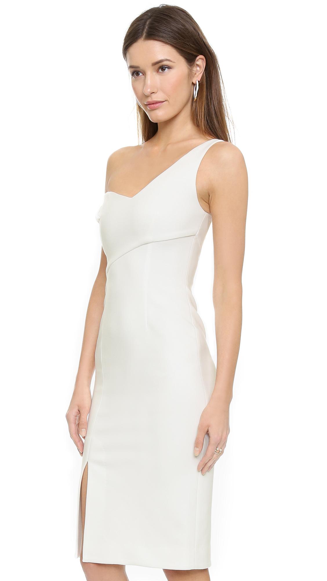 Nicholas Ponte One Shoulder Dress White In White Lyst
