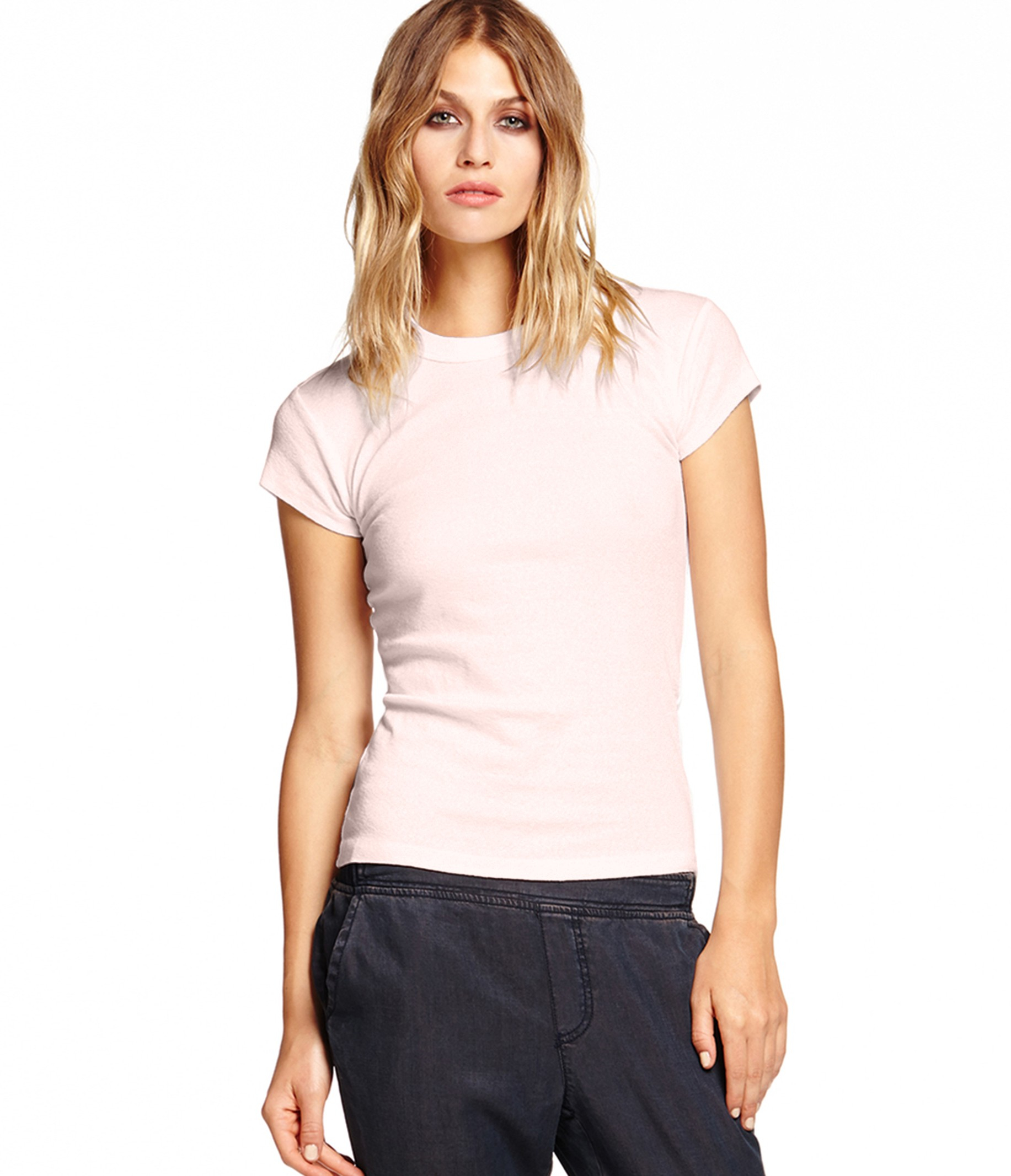 Michael stars shine capsleeve crew neck tee in pink lyst for Michael stars tee shirts