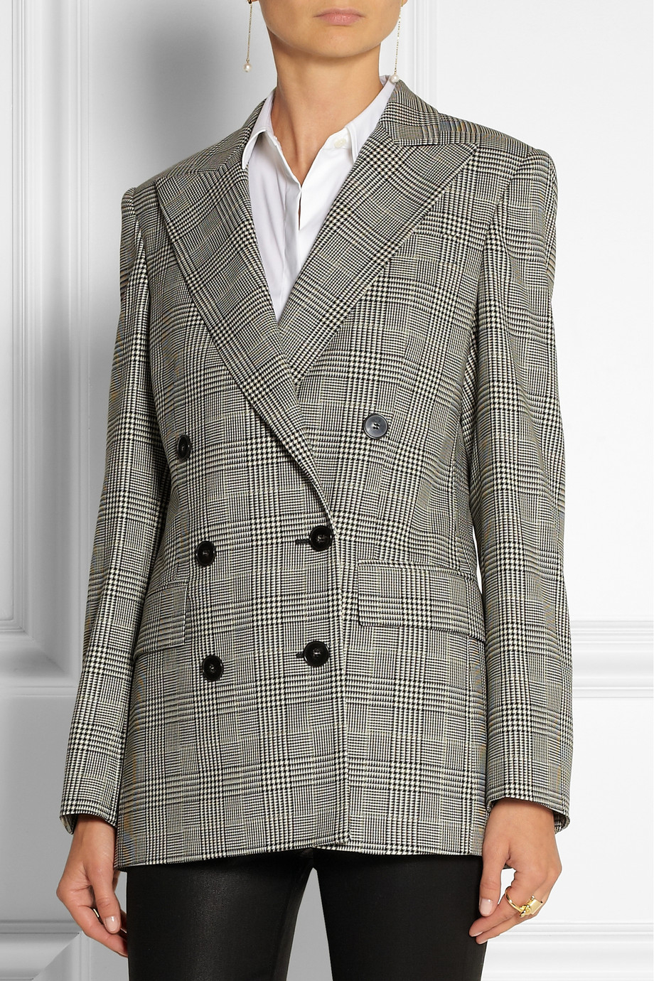 Stella Mccartney Prince Of Wales Check Stretch Wool Double