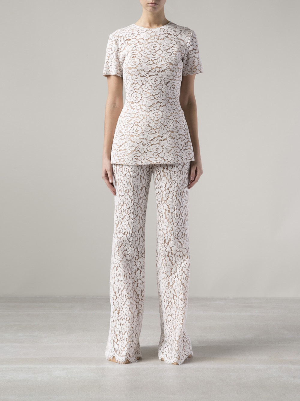 Lyst Michael Kors Floral Lace Trousers In White