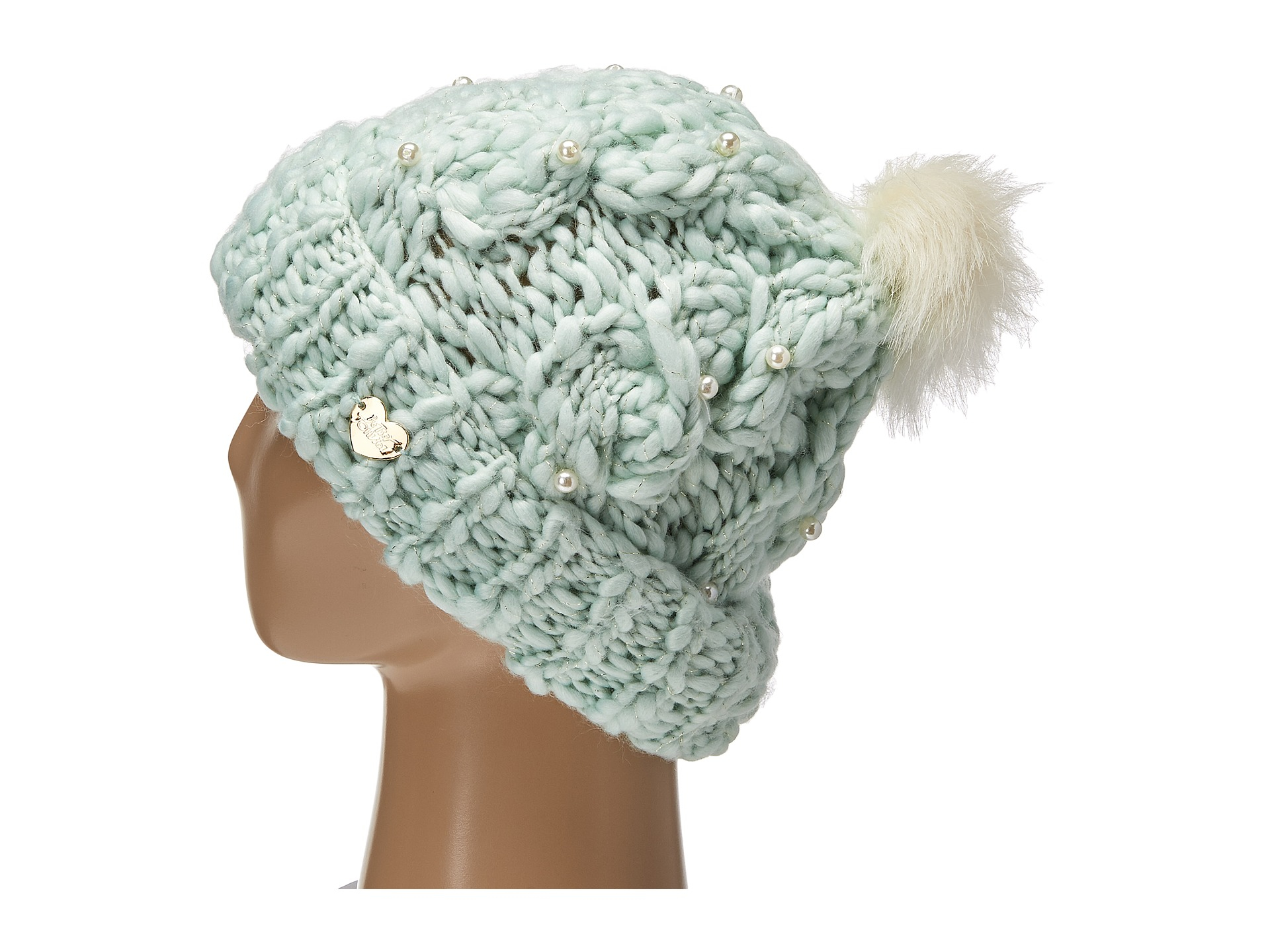 c0c1f39ca3d Lyst - Betsey Johnson Pearly Girl Cuff Hat in Blue