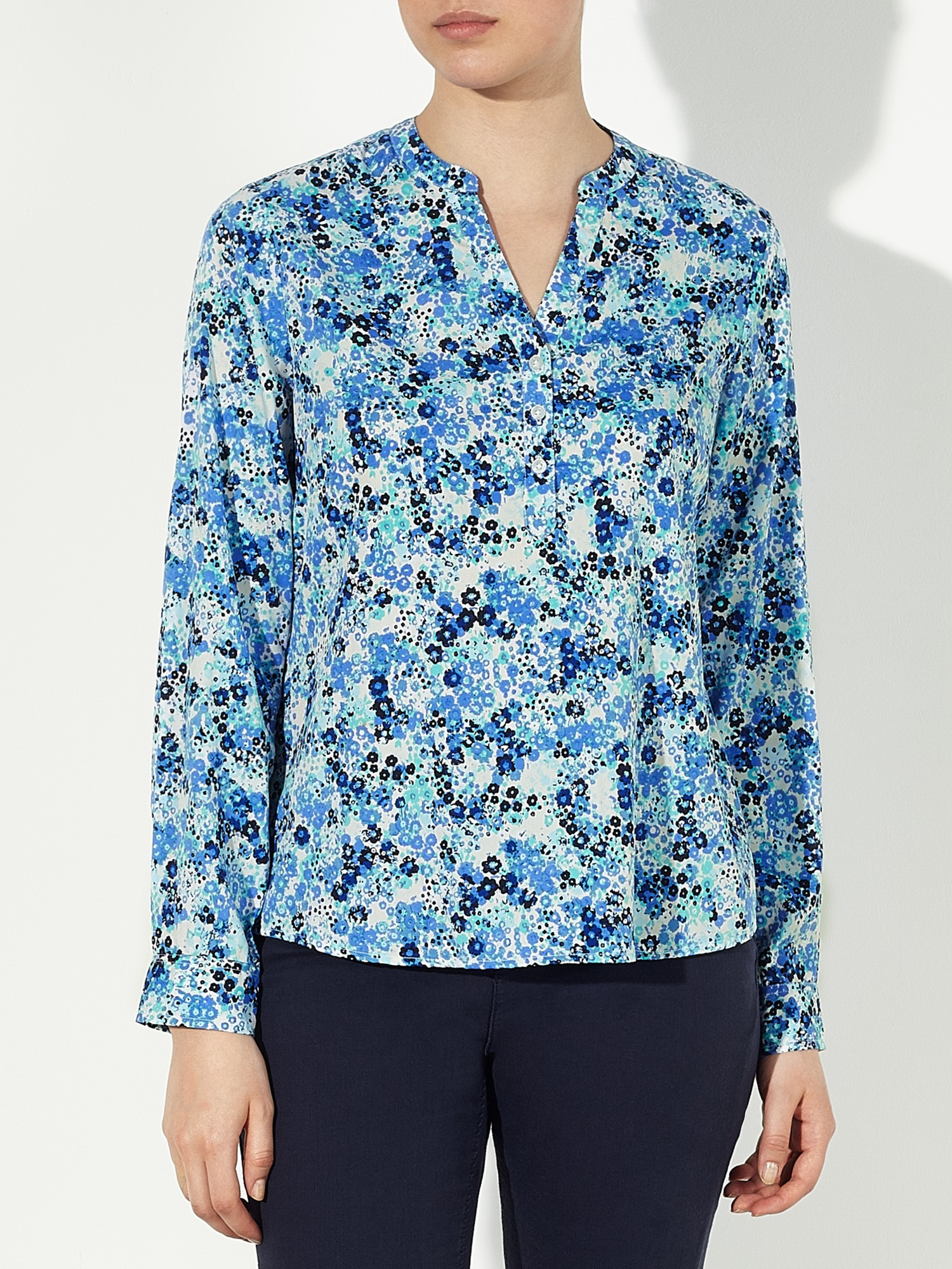 John Lewis Denim Garden Print Popover Tunic Top in Blue