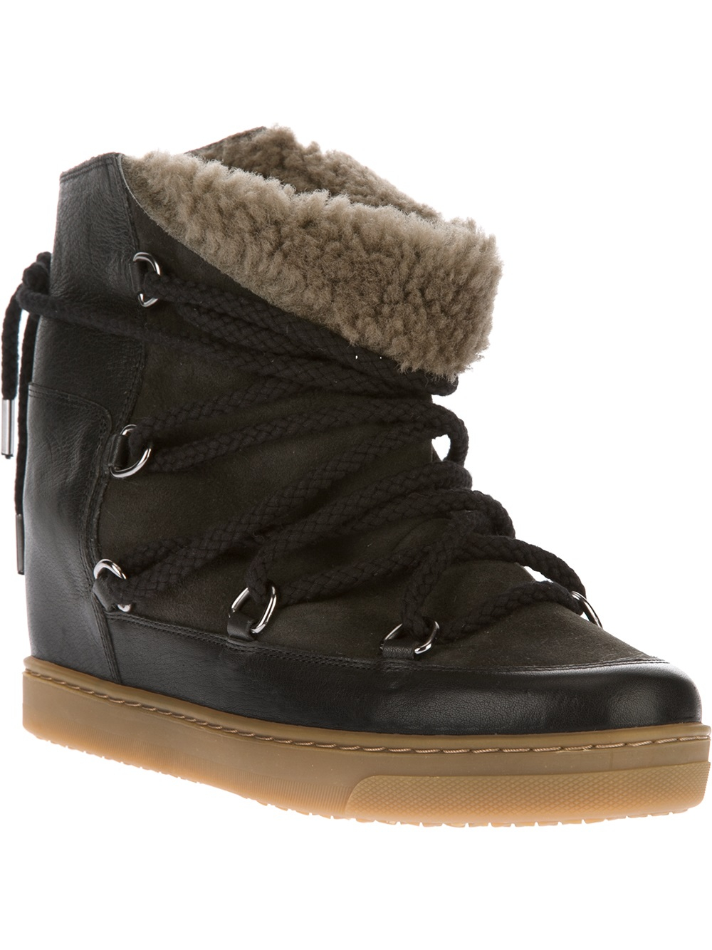 isabel marant nowles snow boot in black lyst. Black Bedroom Furniture Sets. Home Design Ideas