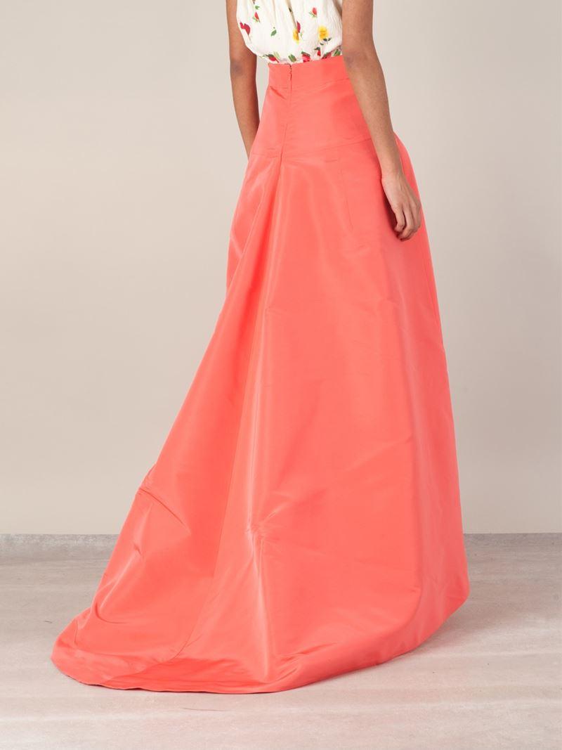 lyst oscar de la renta asymmetric trail skirt in pink. Black Bedroom Furniture Sets. Home Design Ideas