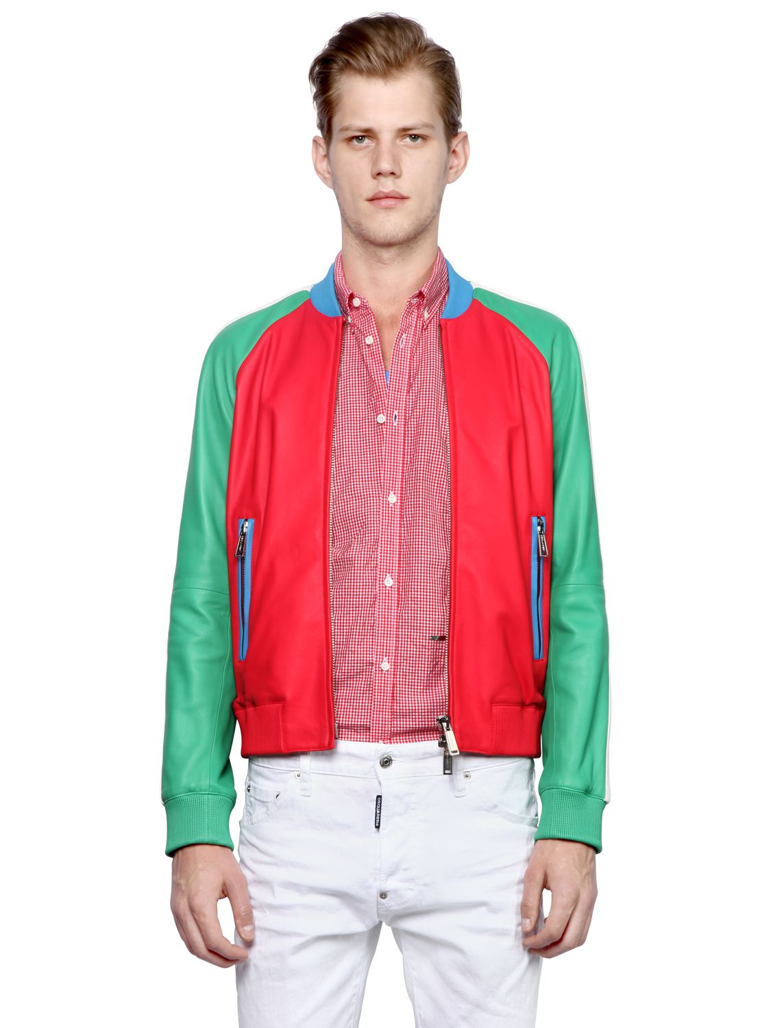 DSquared² Color Block Nappa Leather Bomber Jacket for Men