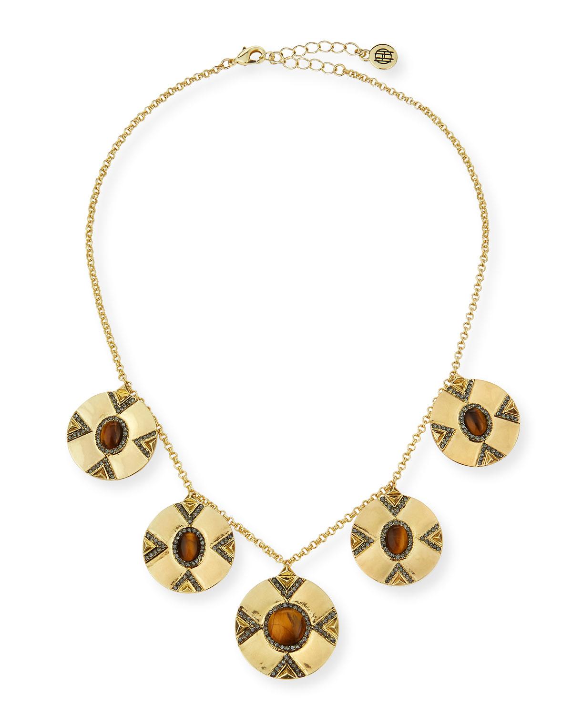 Harlow Handmade 3-Layer Mustard Gem Statement Necklace