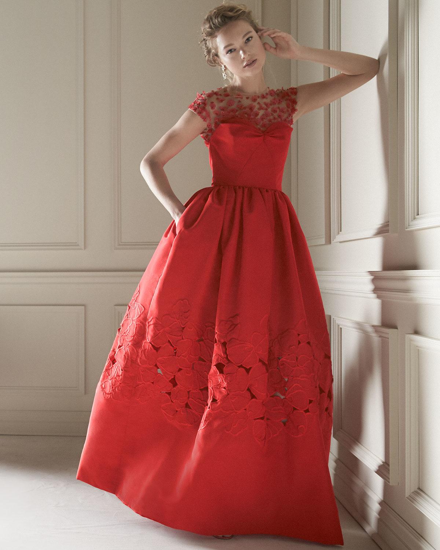 Lyst - Oscar De La Renta Floral-embellished Ball Gown in Red