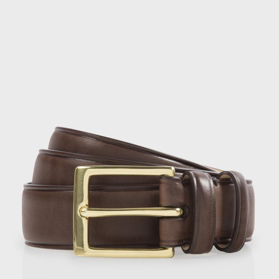 paul smith s brown leather classic suit belt in brown