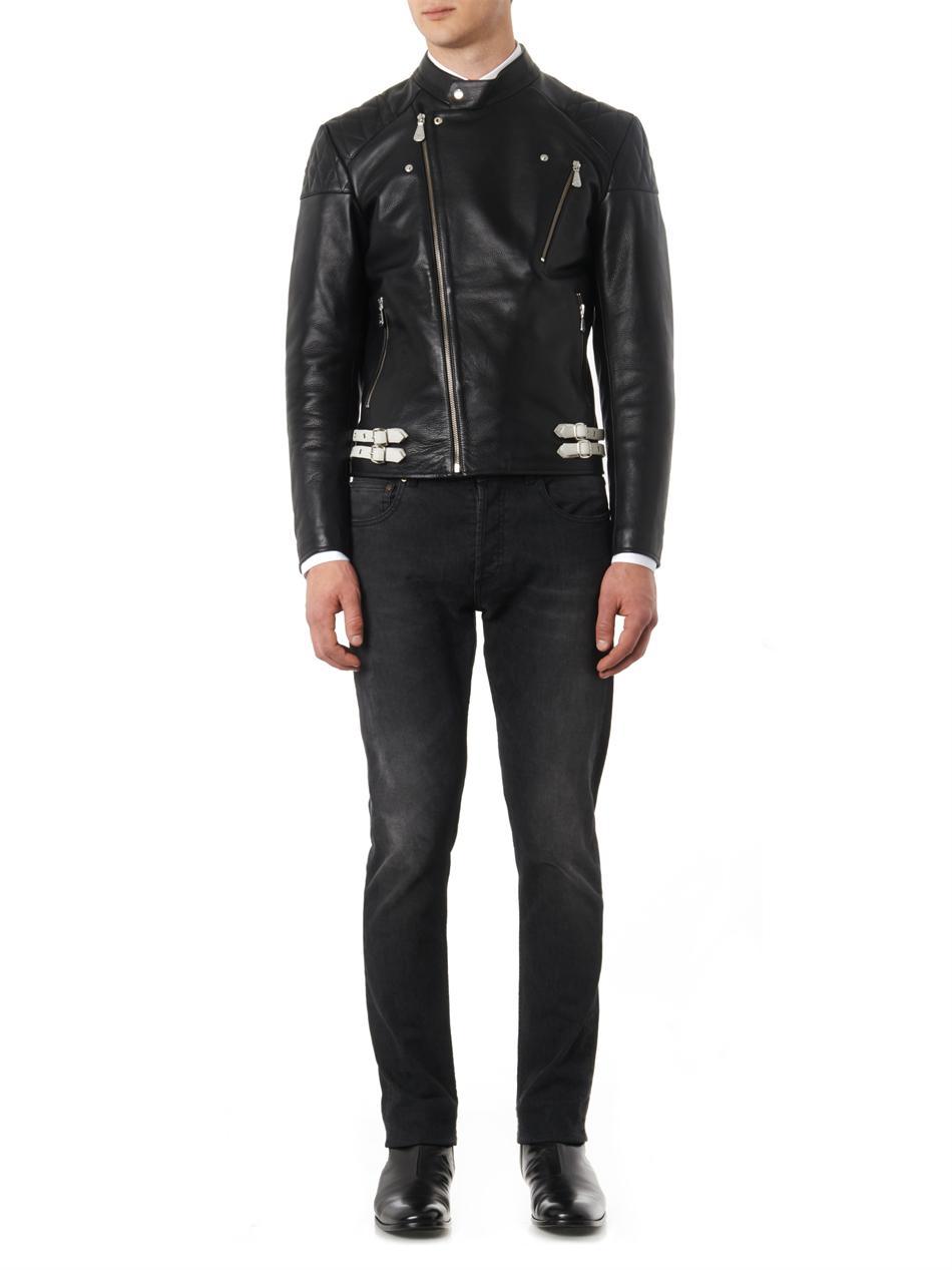 Lyst Mcq Leather Biker Jacket In Black For Men