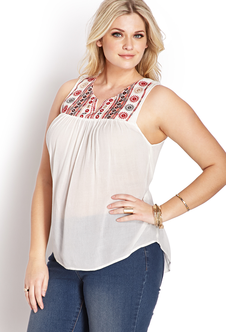 8fc402d70d8d2 Lyst - Forever 21 Boho Sweet Embroidered Top in White
