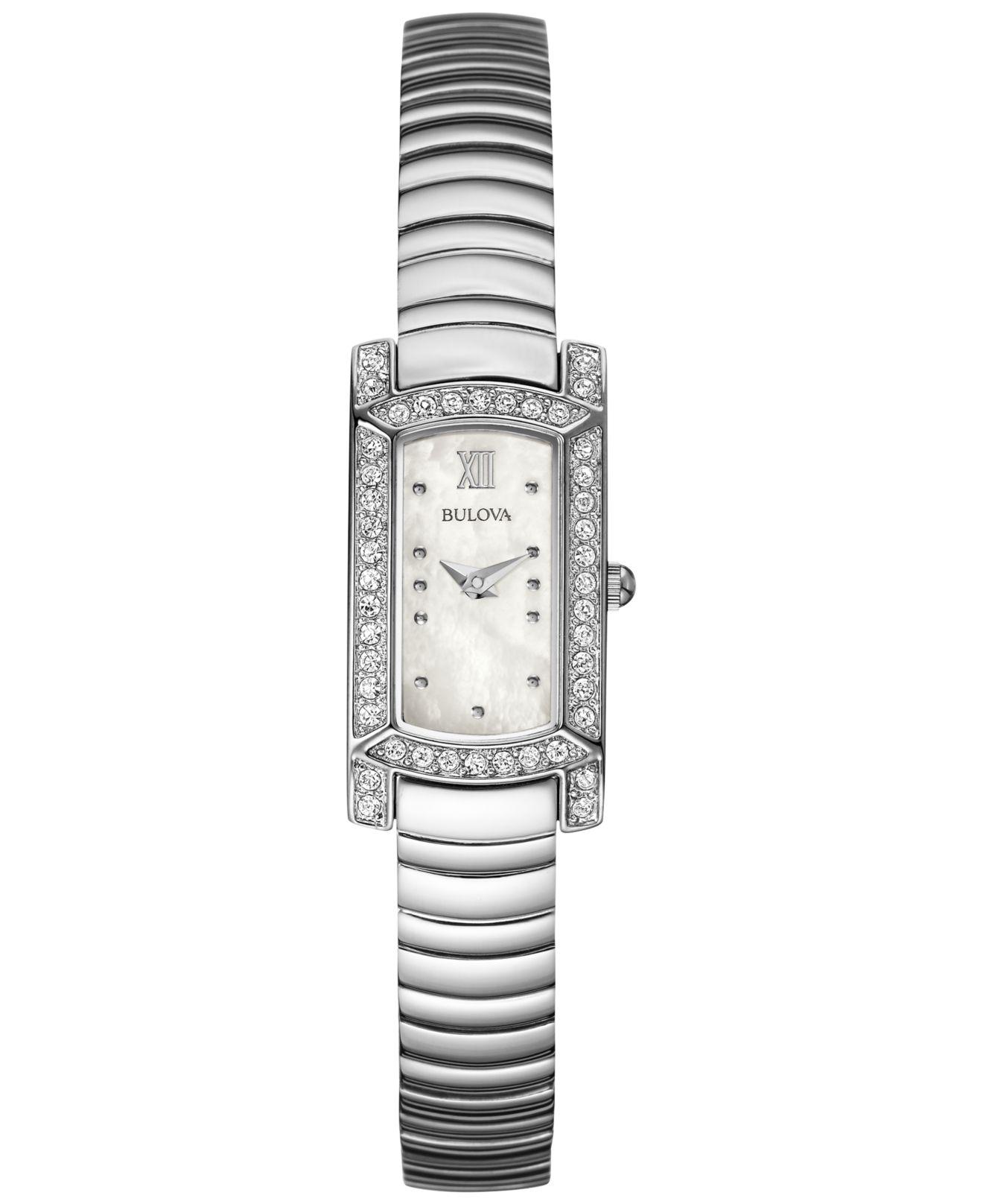 Bulova Women's Stainless Steel Bracelet Watch 18x15mm ...
