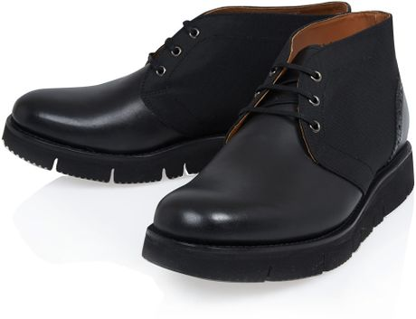 Grenson Black Maddox Wedge Chukka Boots In Black For Men