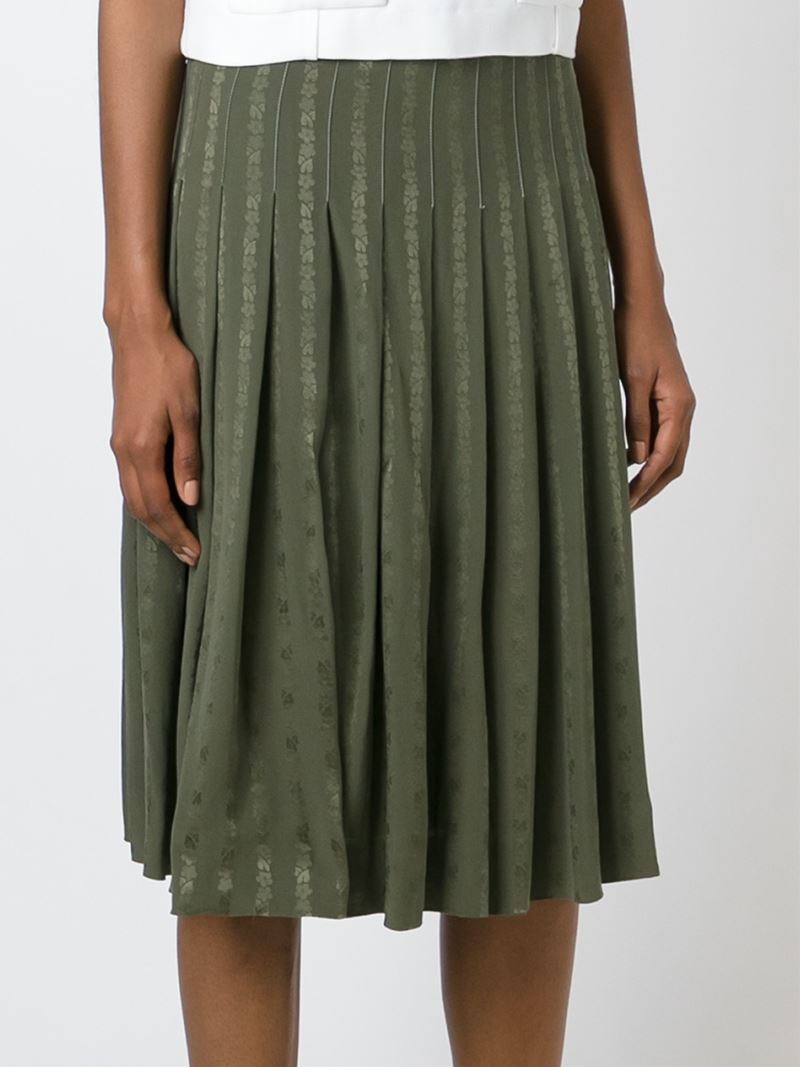 c 233 line vintage pleated midi skirt in green lyst