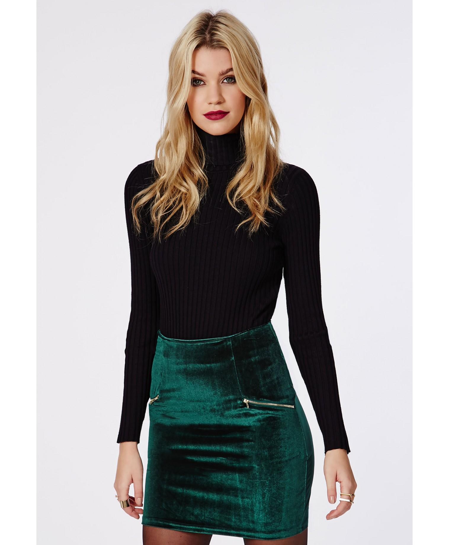 missguided velvet zip detail mini skirt dark green in green lyst