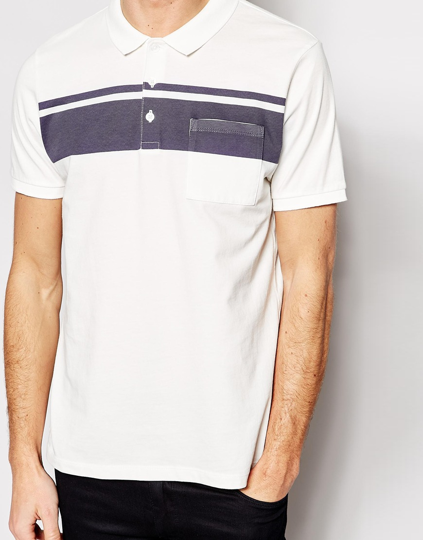 Asos Polo Shirt With Chest Stripe In Blue For Men Lyst