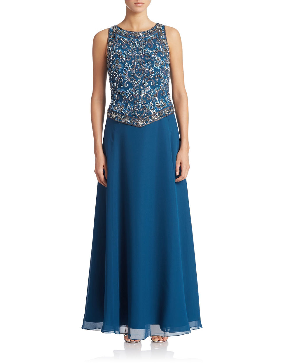 J Kara Petite Beaded Gown With Scarf In Blue Lyst