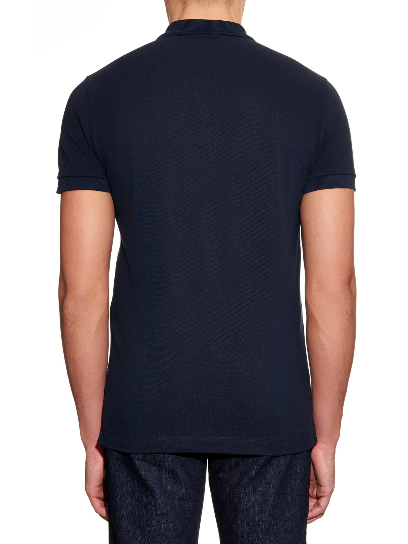 Bottega veneta cotton piqu polo shirt in blue for men lyst for Bottega veneta t shirt