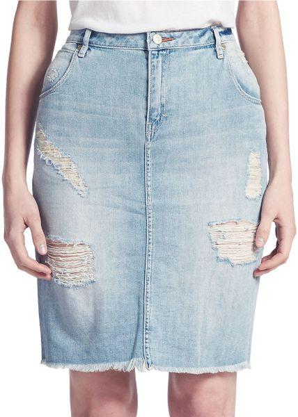 dittos distressed denim skirt in blue light blue lyst