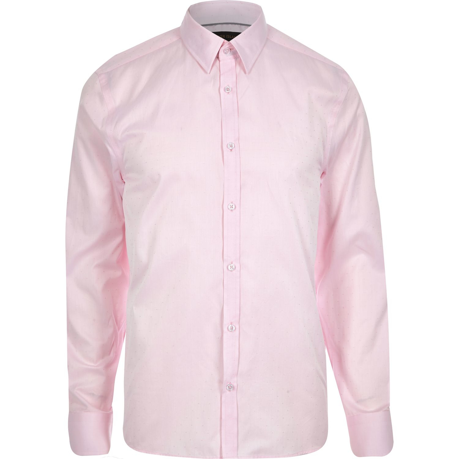 River Island Pink Slim Point Collar Shirt In Pink For Men