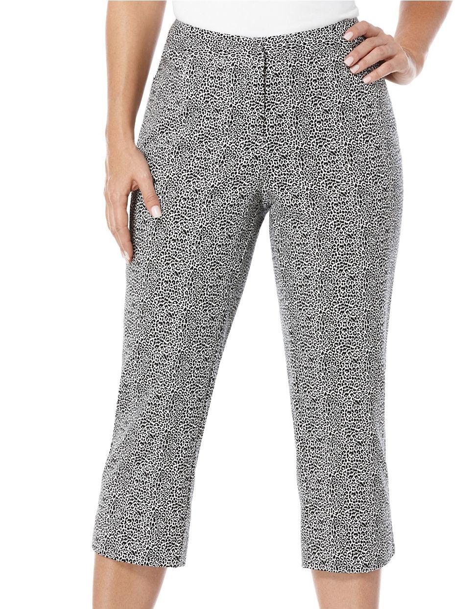 Rafaella Leopard Printed Power Stretch Capri Pants in Gray | Lyst