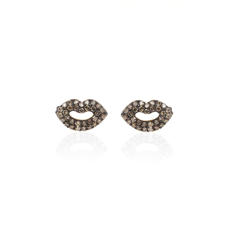 Lyst Kismet By Milka Muck Kiss Lip Stud Earrings In Metallic