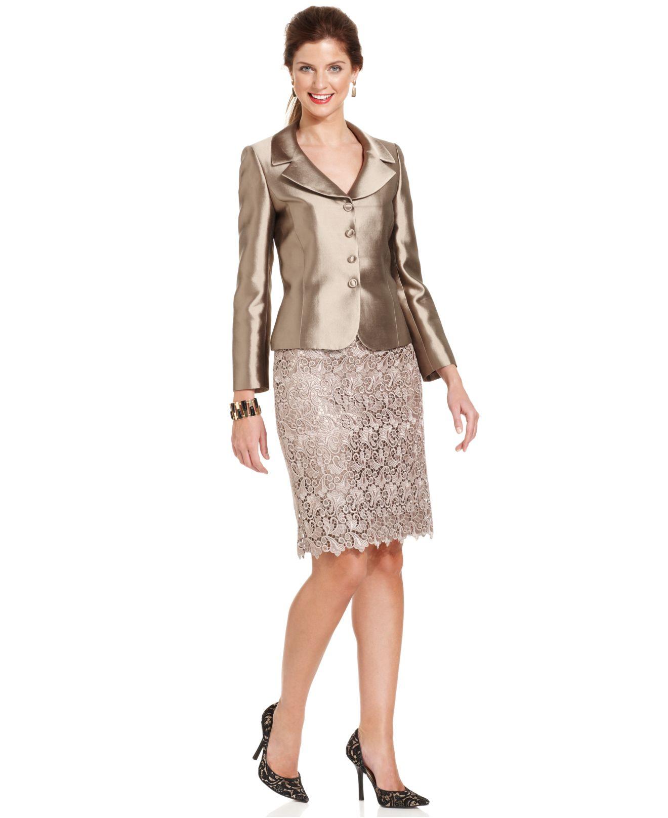 Tahari Three Button Metallic Lace Skirt Suit In Bronze