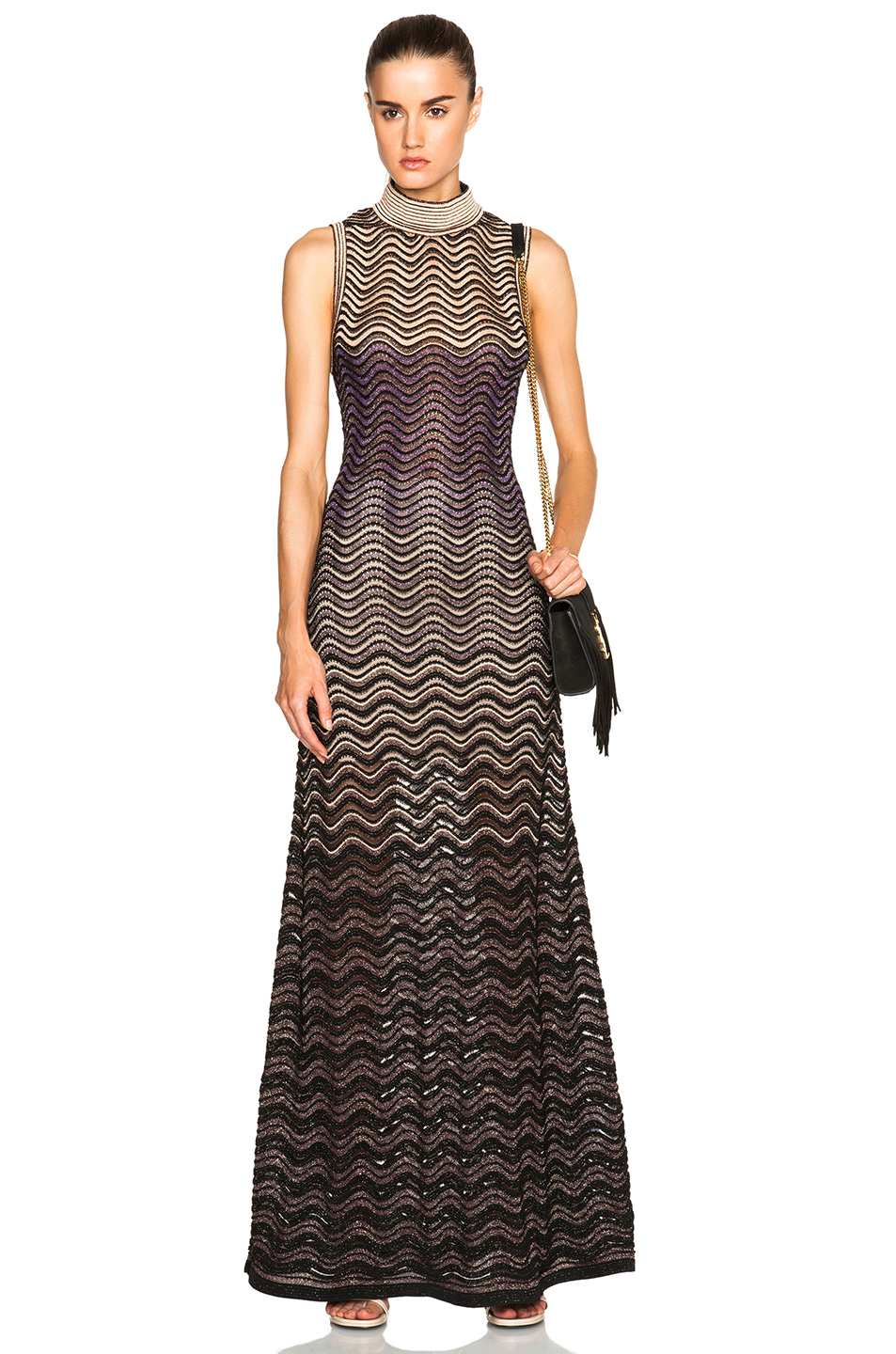 M missoni Ribbed Stitch Lurex Maxi Dress in Purple  Lyst
