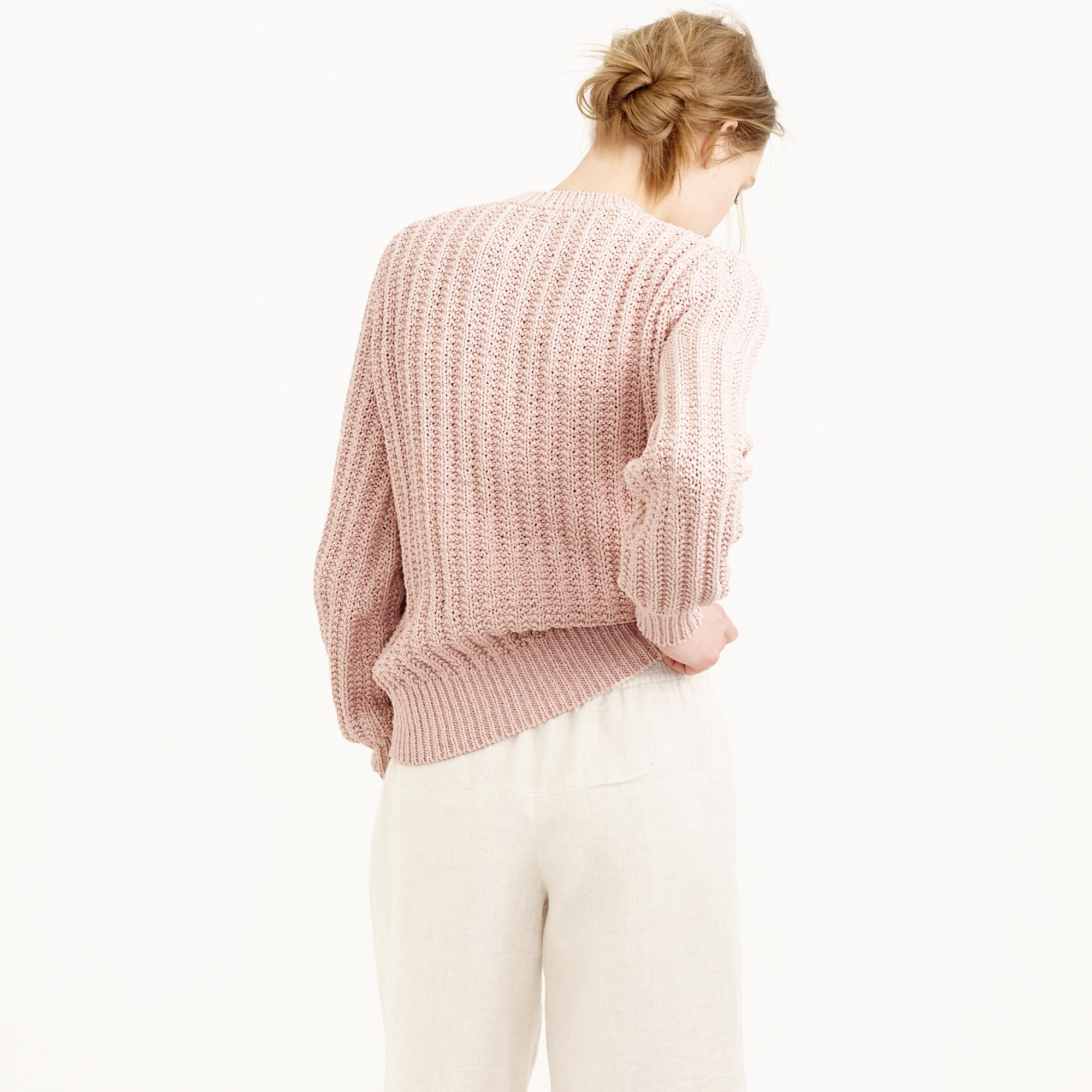 J.crew Ryan Roche Ribbed Sweater in Pink | Lyst