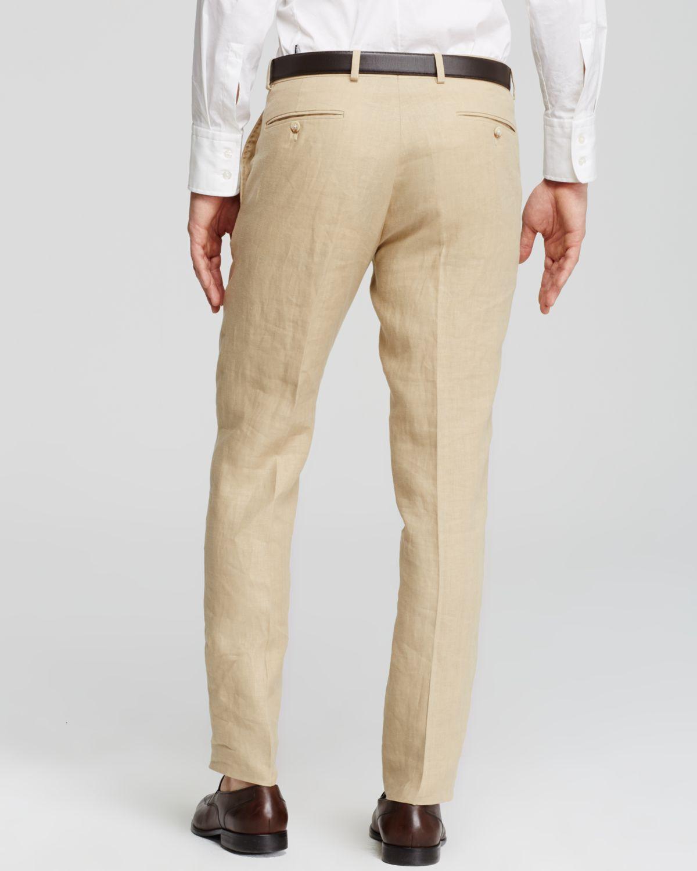 Ralph Lauren Natural Polo Custom-Fit Linen Dress Trousers - Slim Fit for men