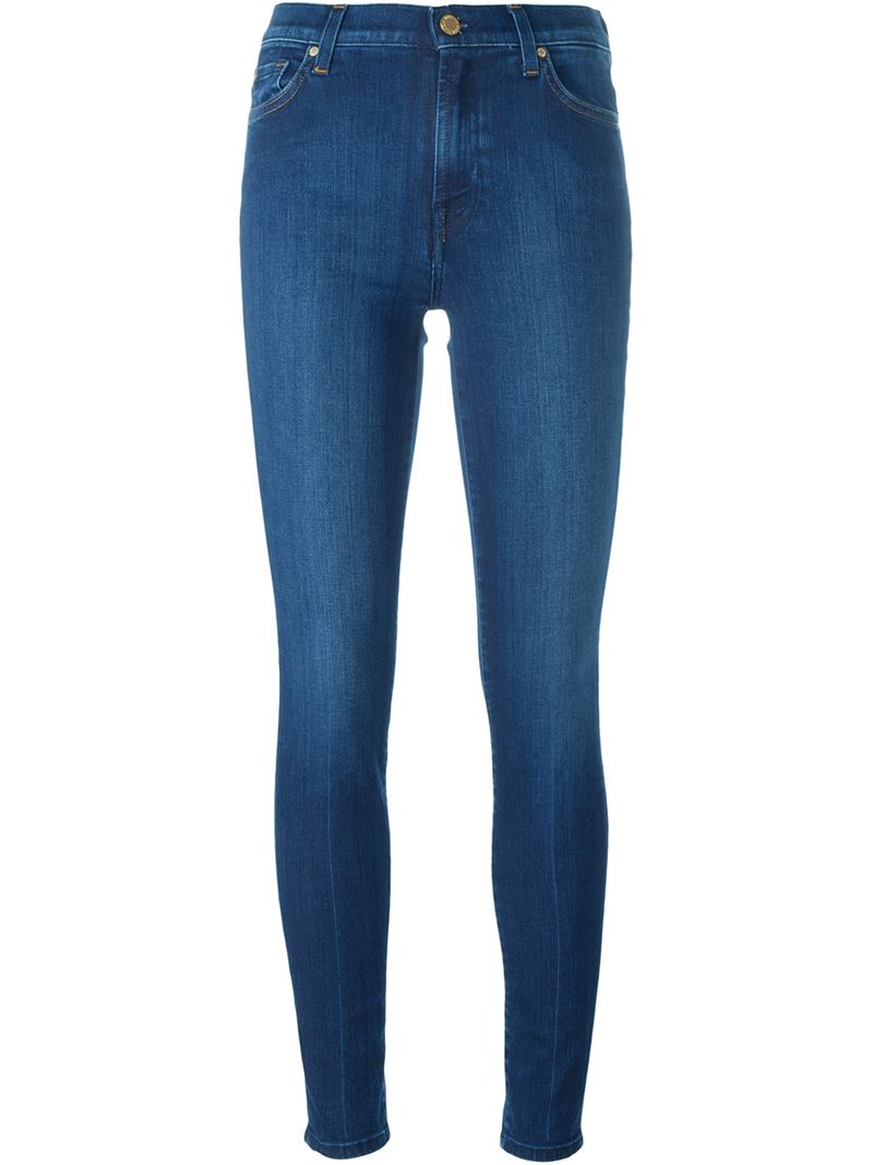 for all mankind skinny jeans in blue lyst. Black Bedroom Furniture Sets. Home Design Ideas