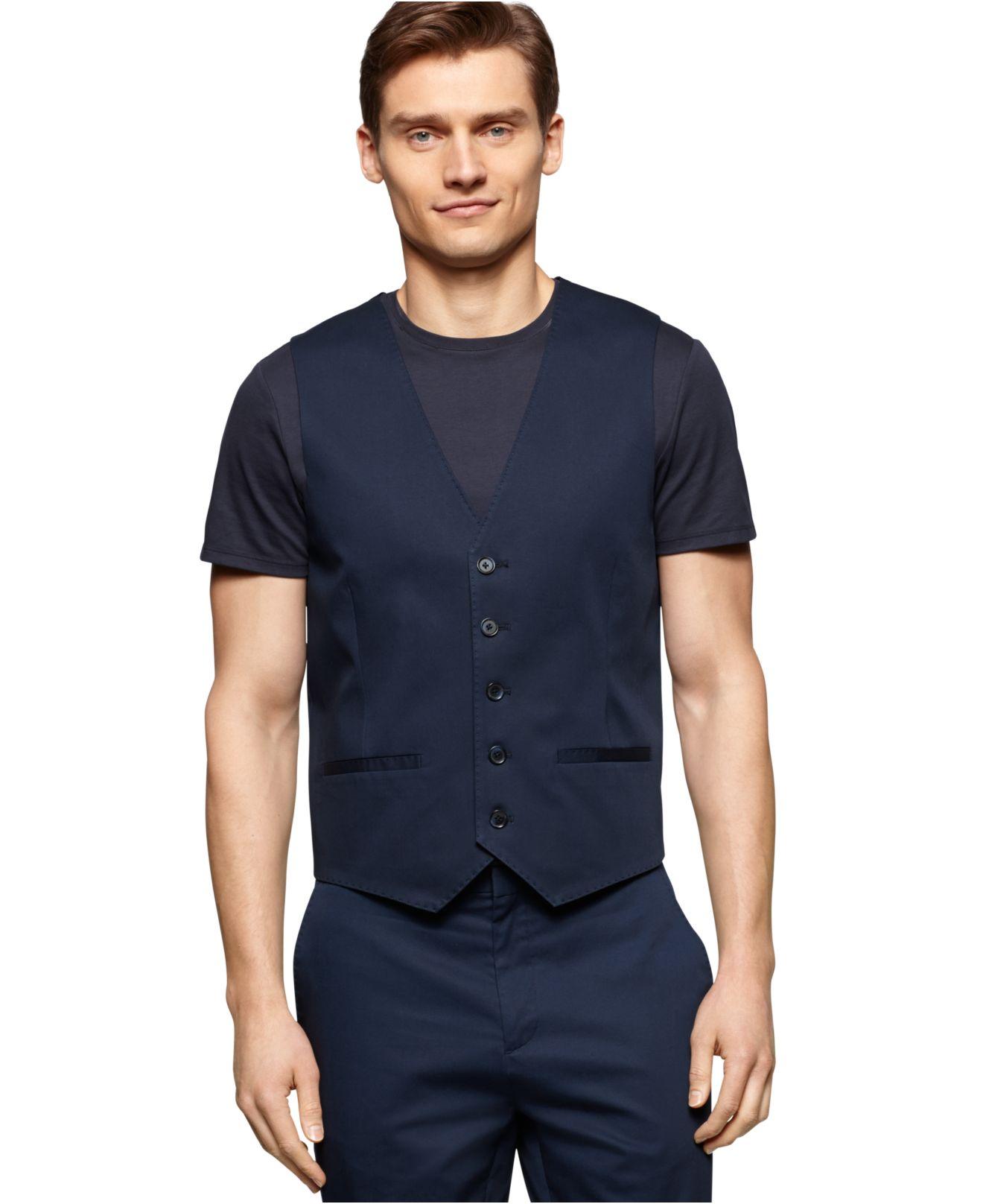 Lyst calvin klein stretch twill slim fit suit vest in blue for Calvin klein slim fit stretch shirt
