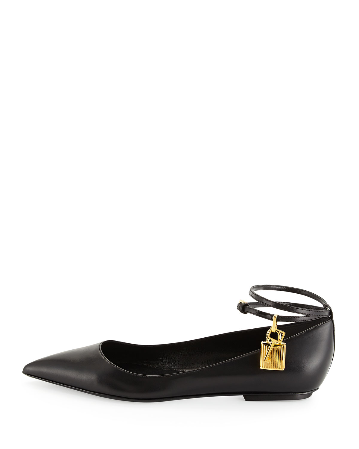 da21852e66e Lyst - Tom Ford Leather Ankle-Lock Ballerina Flat in Black